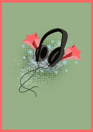 entertaining: Techno music headphones color background with space
