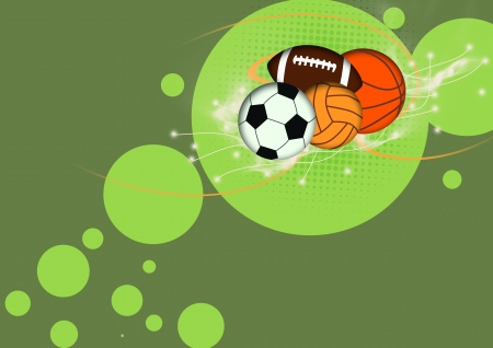 Football, basketball, volleyball, soccer Balls background with space  photo
