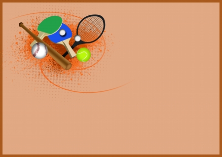 ballgame: Tennis, table tennis, baseball sport items background with space