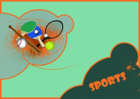 wimbledon: Tennis, table tennis, baseball sport items background with space