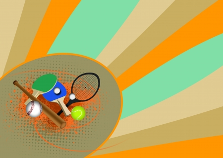 Tennis, table tennis, baseball sport items background with space
