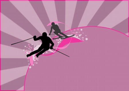 slalom: Winter sport: skier man background with space Stock Photo