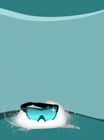 Winter sport ski glass background with space