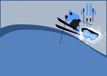 ice slide: Winter sport: skier man background with space Stock Photo