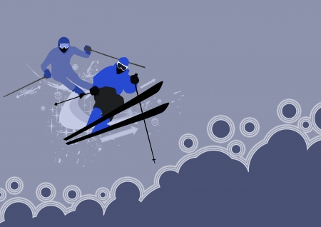 Winter sport: skier man background with space photo