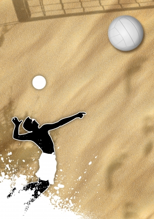 Summer Beach valleyball poster background with jumping man  photo