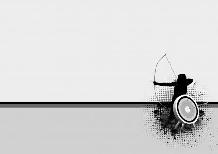boogschutter: Schieten en boogschieten doelgroep achtergrond met ruimte Stockfoto