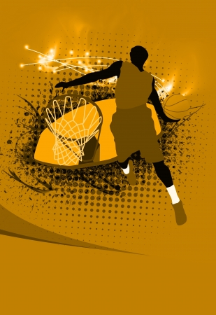 nba: Basketball sport poster: jumping man and ball background with space