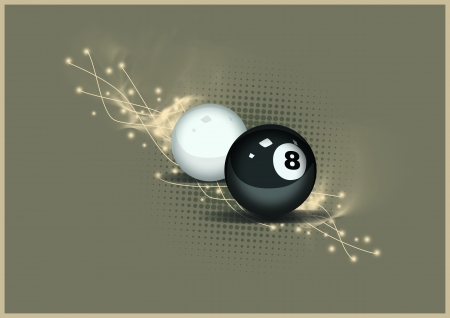 8 ball pool: Billiard eight and white ball background with space