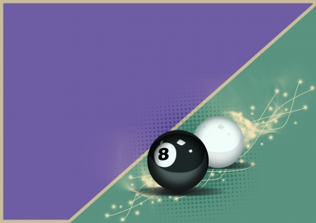 billard: Billiard eight and white ball background with space