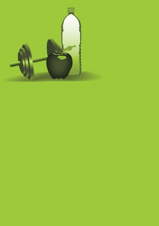 kilos: Diet poster: Apple, water, fitness background with space