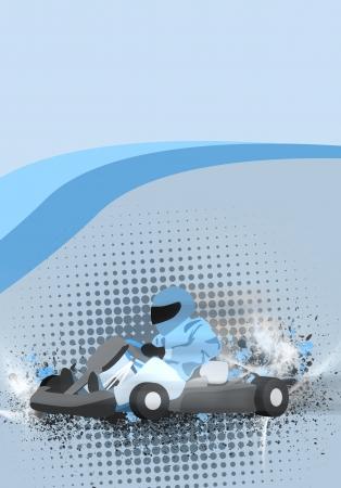 motorsport: Mostor sport poster: Gocart background with space