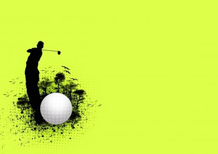 torneio: Cartaz Golf: bola e homem do fundo com espa