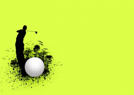 play golf: Golf poster: ball and man background with space