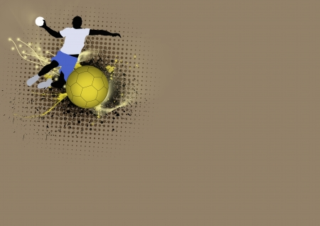 Handball poster: jumping, shoting man background with space photo