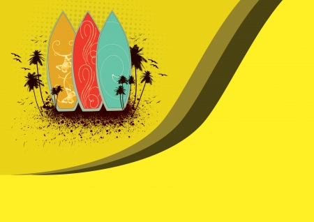 Abstract sport poster: Surf summer background with space photo