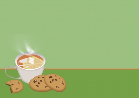 Tea and sweet cookie background with space photo