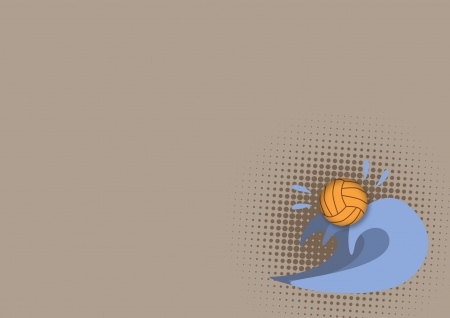 Water polo poster: ball and wave background with space photo