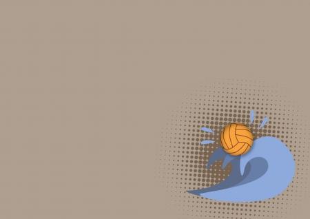 waterpolo: Waterpolo cartel: blanco bola y la onda con el espacio