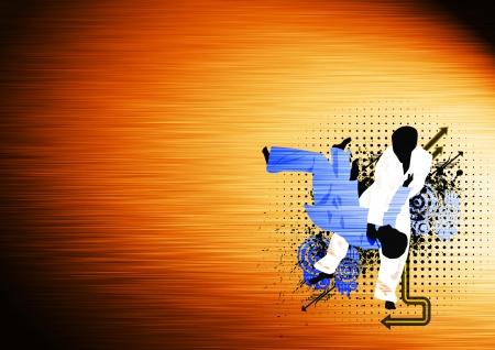 judo: Cartel Deporte: Judo fondo partido con el espacio