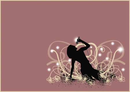 teen silhouette: Party poster: Singing girl background with space