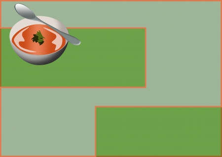 Food poster: soup bowl color background with space  photo