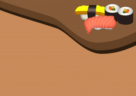 Food poster: Sushi menu color background with space  photo