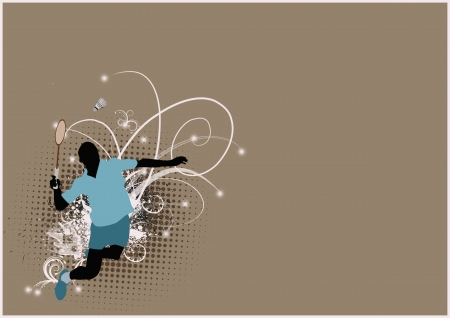 Badminton sport poster: jumping man background with space photo