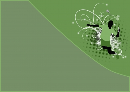 goose club: Badminton sport poster: jumping man background with space