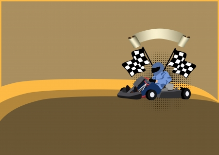 formula one:  Gocart race motor sport poster background with space  Stock Photo