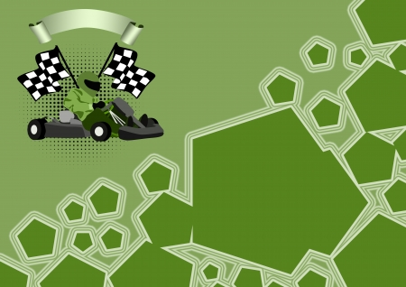 carting:  Gocart race motor sport poster background with space  Stock Photo