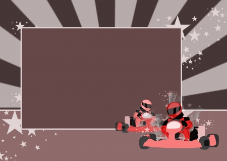kart:  Gocart race motor sport poster background with space  Stock Photo