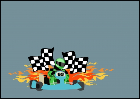 go kart:  Gocart race motor sport poster background with space  Stock Photo