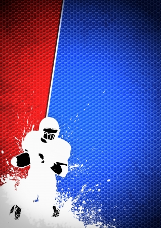American football sport poster: running man and ball grunge background with space photo