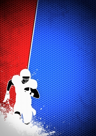 American football sport poster: running man and ball grunge background with space Stock Photo - 15377408