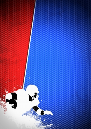 teammate: American football sport poster: running man and ball grunge background with space
