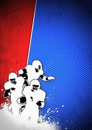 American football sport poster: running man and ball grunge background with space Stock Photo - 15377400
