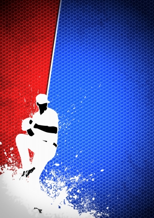 ball field: Sport poster: Baseball player background with space Stock Photo