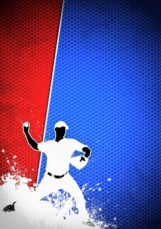 baseball field: Sport poster: Baseball player background with space Stock Photo