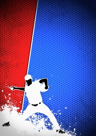 Sport poster: Baseball player background with space Stock Photo - 15377407