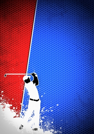 Golfclub poster: Man golf swing poster background with space  Stock Photo - 15377419