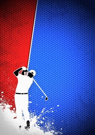 Golfclub poster: Man golf swing poster background with space Stock Photo - 15377417