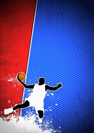 Basketball sport poster: man and ball grunge background withs space photo