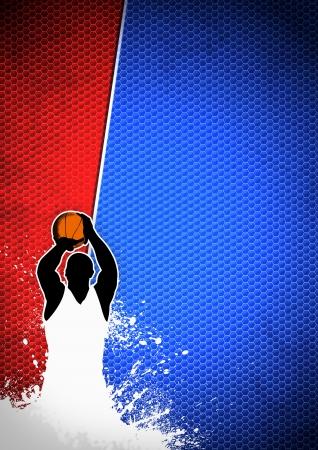 canestro basket: Basket manifesto sport: l'uomo e grunge background withs spazio