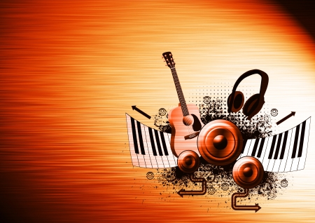 piano roll: Music poster: guitar, piano, speaker and headphone abstract backround with space Stock Photo