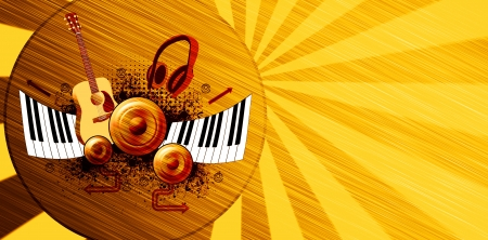 piano player: Music poster: guitar, piano, speaker and headphone abstract backround with space Stock Photo