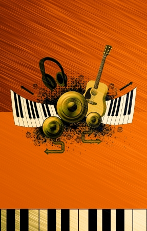 music poster: Music poster: guitar, piano, speaker and headphone abstract backround with space Stock Photo