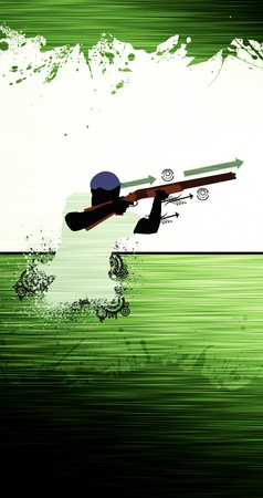Hunting poster: duck hunter man with weapon abstract grunge background photo