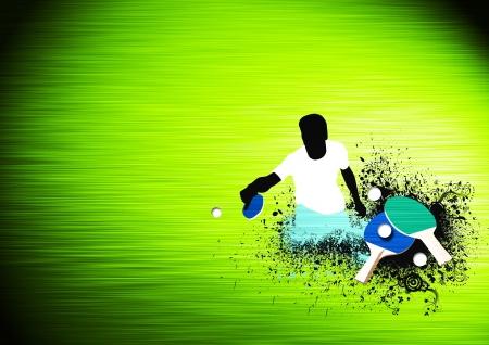 pingpong: Cartel Sport: raqueta de tenis de mesa, la bola y el hombre con el espacio de fondo Foto de archivo