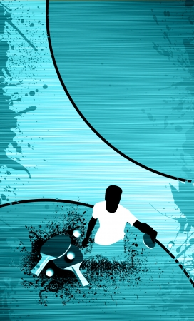 pong: Sport poster: table tennis, ball and man background with space